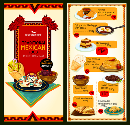 Mexican cuisine menu for restaurant. Traditional dishes of vector nachos chips with salsa and chili pepper sauce, corn tortillas and empanadas with spicy meat and bean fillings and sweet desserts Illustration