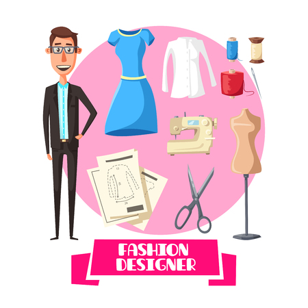 Fashion designer or dressmaker profession. Vector dress or woman blouse shirt and dummy mannequin model for cloth fitting pattern cut. Threads with sewing machine and needle or scissors for apparel Foto de archivo - 112276207
