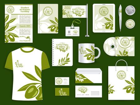 Plantillas de identidad corporativa de marca o empresa para la industria de producción de aceite de oliva o productos de oliva. Conjunto de accesorios de marca de tarjetas de visita de oficina de marca vectorial, material de oficina y conjunto de ropa promocional