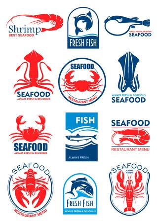Iconos y símbolos de mariscos y alimentos para peces de calamar o sepia, cangrejo langosta y gambas camarones, atún, salmón o trucha y arenque fresco. Iconos vectoriales para menú de restaurante o signo Ilustración de vector