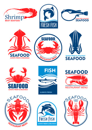 Seafood and fish food icons and symbols of squid or cuttlefish, lobster crab and shrimp prawn, tuna, salmon or trout and fresh herring. Vector icons set for restaurant menu or sign Çizim