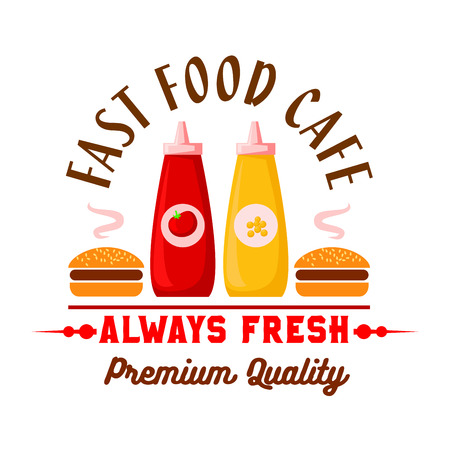 Fast food cafe lunch menu design element with cartoon icon of hamburgers served with squeeze bottles of ketchup and mustard sauces. Fast food hamburgers retro badge for cafe interior design usage Standard-Bild - 106165226