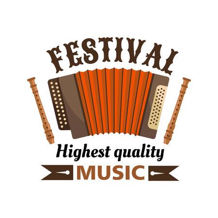 Musikfestival isolierte Vektoretikettenemblem. Russische Mundharmonika und Flöten mit braunem Band. Traditionelle Akkordeon Musikinstrument Ikone für Volkskonzert, Musikfest Vektorgrafik