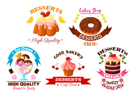 Pastry and dessert sweets vector icons set of fruit cake and cupcake with fruits, fruity ice cream, glazed vanilla tart and donut with chocolate roll pie and pudding with cream and chocolate fondant.   イラスト・ベクター素材
