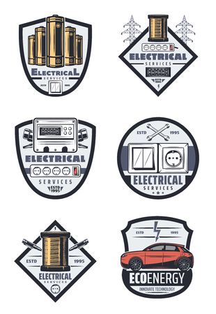 Electrical service icons for home electricity and car transport electric system repair. Vector isolated set of power energy, accumulator or battery and high voltage lines with ammeter Vector Illustration