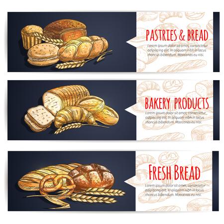 Affiches de pain frais et de produits de boulangerie. Éléments de croquis de vecteur de baguette, pain, bagel, bretzel, croissant, gâteau, muffin, pain pour boulangerie, pâtisserie, enseigne de menu de pâtisserie café