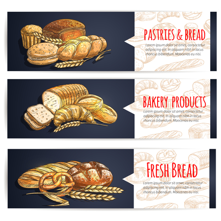 Fresh bread and bakery products posters. Vector sketch elements of baguette, loaf, bagel, pretzel, croissant, cake, muffin, bun for baker shop, patisserie, cafe pastry menu signboard  イラスト・ベクター素材
