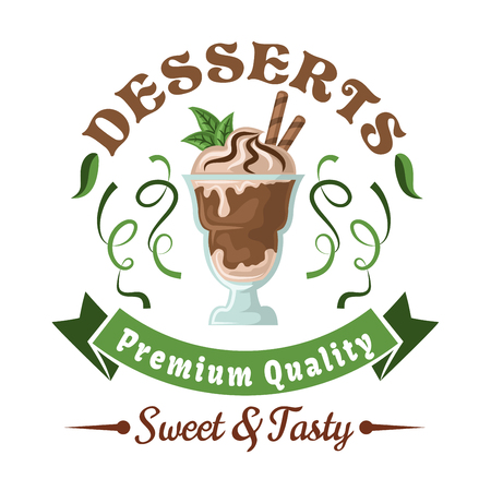 Chocolate ice cream retro badge topped with whipped cream, wafer rolls, and fresh mint leaves, adorned by header Desserts, green twists of lime fruit zest and ribbon banner. Use as cafe or bar menu design element Иллюстрация