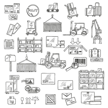 Delivery logistics sketch symbols of forklift and hand trucks, warehouse scales, conveyor and racks with cardboard boxes and packages, parcels, letters and baggages, barcode, packaging signs, mailbox