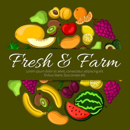 Fresh and farm fruits vector banner. Sticker design with elements of fresh fruits watermelon, banana, mango, melon, orange, apricot, apple. Farming ripe fruits harvest emblem for menu, book cover design