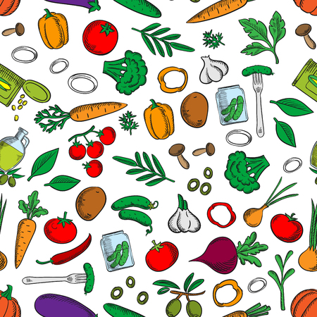 Seamless bright fresh and pickled vegetables pattern with tomatoes, olives, chilli and bell peppers, carrots, mushrooms, broccoli, potatoes, onions, garlic, cucumbers, beets and pumpkins, canned corn grains and pickles on white background among green spicy herbs