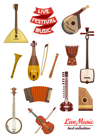 Musical instrument cartoon icon set. Violin, drum, lute, balalaika, flute, mandolin, banjo and sitar, accordion and rebec, psaltery and ribbon banner with text Live Festival Music. Arts, music theme design