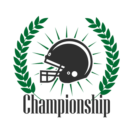 Retro sporting icon of american football protective helmet with sun rays, supplemented by heraldic laurel wreath with caption Championship. Football sporting tournament badge or team insignia design