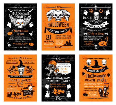 Halloween night party night invitation posters and cards templates for 31 October traditional trick or treat holiday celebration. Vector Halloween pumpkin lantern, skeleton skull and zombie grave Illustration