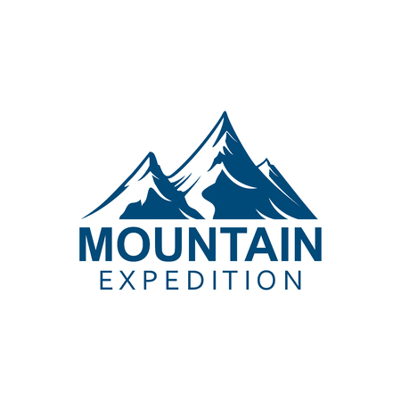 Climbing expedition or mountain alpine climbing sport icon or vector emblem. Alp rocks with snowy peaks Isolated badge for climb extreme adventure, mountaineering winter nature trip or tourist camping, skiing or snowboarding Çizim