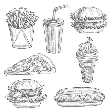 Fast food pencil sketch snacks, desserts, drinks. Isolated vector icons of french fries in box, pizza slice, soda coke, cheeseburger, hamburger, hot dog, ice cream cone