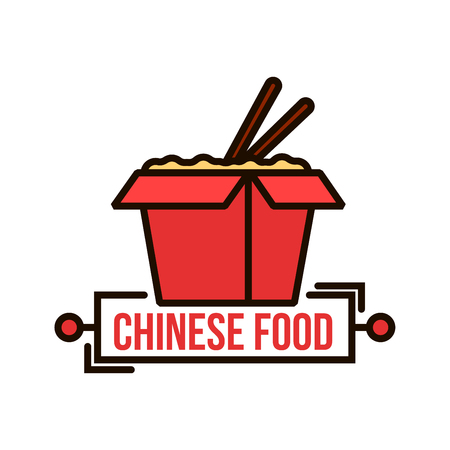 Takeaway chinese food badge of red paper noodle box with wok fried noodles and chopsticks. Use as food packaging or delivery service design. Thin line style