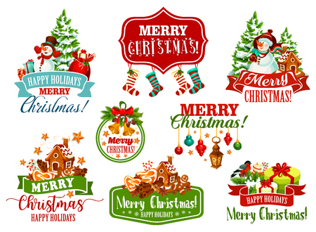 Merry Christmas wishes icons of Santa presents gifts, Christmas tree stockings and snowman for greeting card design. Vector New Year gingerbread cookie and mulled wine, snowflakes and ribbon wreath