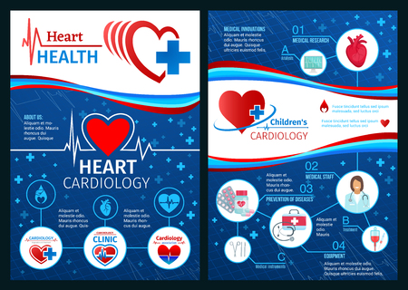 Folleto de salud cardíaca o carteles médicos de la clínica de cardiología. Diseño vectorial de médico cardiólogo con estetoscopio, píldoras cardiovasculares o cardiograma y prevención de enfermedades cardiovasculares Logos