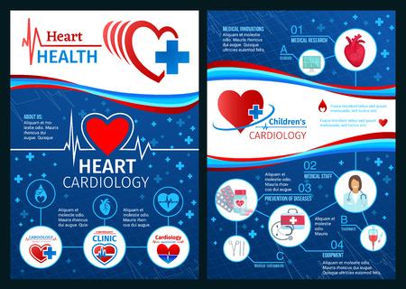 Hartgezondheidsbrochure of medische posters van de cardiologiekliniek. Vector ontwerp van cardioloog arts met een stethoscoop, cardio pil medicijnen of cardiogram en cardiovasculaire ziektepreventie Vector Illustratie