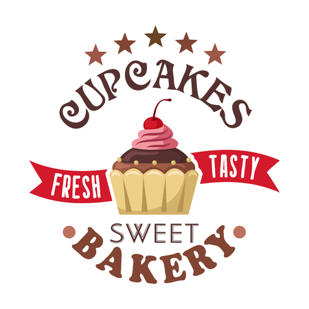 Fresh and tasty frosted chocolate cupcake or muffin topped with cherry and pearl sprinkles round badge with stars and wavy forked ribbon. Cupcake shop symbol for unique packaging design