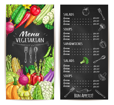Vegetarian food restaurant menu chalkboard. Menu board template with vegetable dishes, prices and sketches of tomato, pepper and carrot, broccoli and onion, chilli and cabbage, corn, eggplant, pea, cucumber