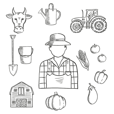Sketch of farmer or farm worker with tractor, barn, fresh tomatoes, eggplant, pumpkin, corn and pepper vegetables, cow, watering can, spade and bucket. Great for agriculture mascot or farmers market symbol design Vettoriali
