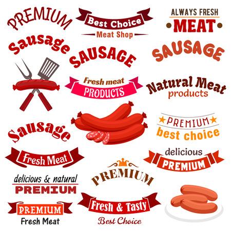 Productos naturales de carne de carnicería y embutidos vector iconos, emblemas y cintas. Salchicha de carne fresca de granja y delicatessen de kielbasa, bratwurst ahumado, salami o pepperoni, chorizo, saucisson y cabanossi para carnicería o letrero de tienda