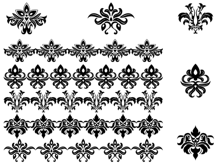 Flower patterns and borders for design and ornate