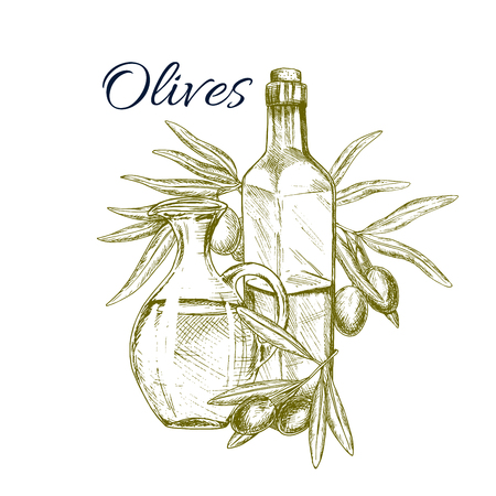 Olive fruit and oil sketch poster. Olive oil bottles, decorated by olive tree branches with fruits. Olive farm, food packaging, mediterranean cuisine recipe, healthy vegetarian nutrition design Zdjęcie Seryjne - 112253580
