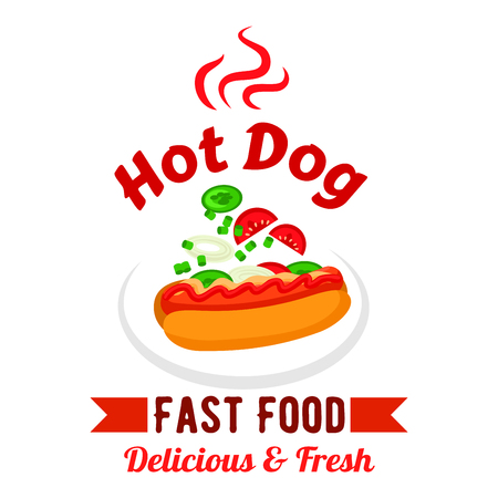 Takeaway fast food sandwiches menu design element with hot dog, garnished with mustard, ketchup, fresh tomatoes, cucumbers and onions vegetables. Fast food hot dog with fresh vegetables and sauces design template Ilustração