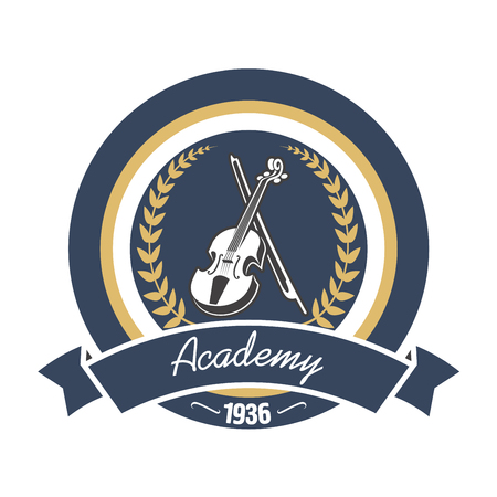 Music academy round insignia with violin and bow, encircled by laurel wreath and ribbon banner with foundation date below. Music education theme or educational institution symbol design usage