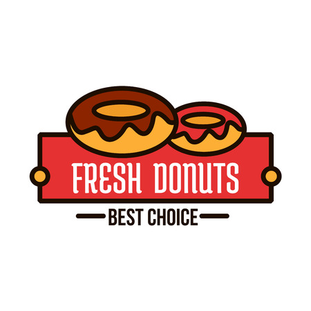 Glazed donuts symbol of linear doughnuts with chocolate and fruity frosting, supplemented by red banner with caption Best Choice. Donut shop, bakery or cafe design template for food packaging