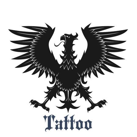 Symbole de l'aigle héraldique pour le tatouage ou l'utilisation de la conception des armoiries avec un oiseau noir en position classique avec les ailes et les jambes déployées, orné de plumes pointues incurvées Vecteurs