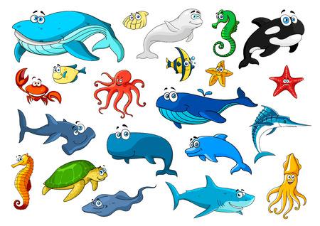 Iconos de animales marinos de dibujos animados. Peces, tortugas marinas, ballenas, cangrejos, estrellas de mar, pulpos y medusas, caballitos de mar y delfines, tiburones, conchas, calamares y camarones, mantarrayas y marlines, orcas y tiburones martillo Ilustración de vector