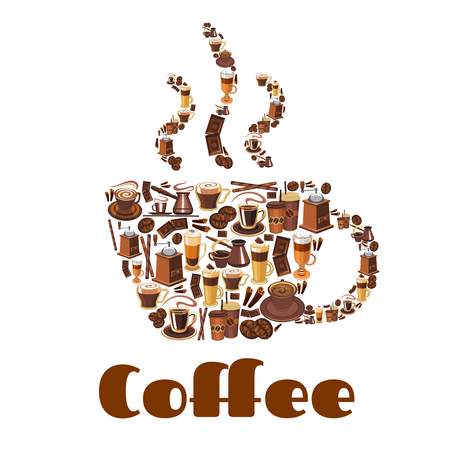 Coffee cup silhouette made up of glass and paper cups of coffee, coffee bean, chocolate, coffee pot and grinder. Coffee poster for cafe, coffee shop, food and drink design