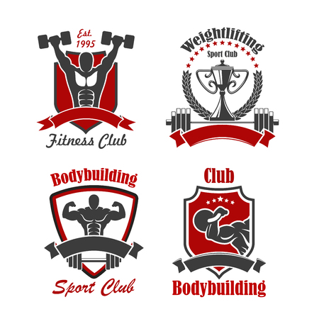 Bodybuilding and weightlifting sport club sign of athlete with dumbbell, barbell, kettlebell and trophy cup, framed by heraldic shield, wreath and ribbon banner with star. Fitness club and gym design Vector Illustration