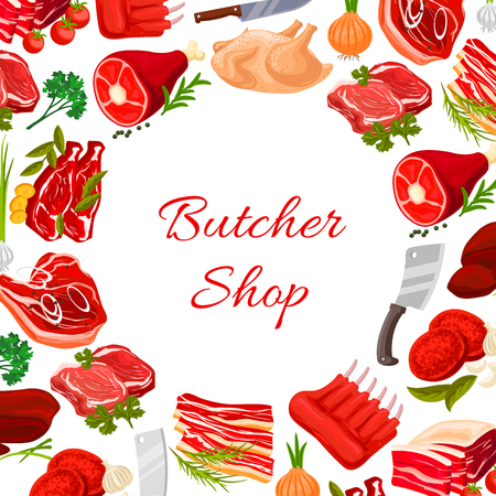 Butchery poster with fresh farm meat products of turkey and chicken leg, pork tenderloin bacon and mutton ribs or sirloin. Butcher shop vector beef filet or t-bone steak, liver and cutlets with greens onion, garlic, parsley and cutlery knife and fork Ilustração
