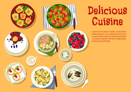 Delicious cuisine flat symbol with top view of festive dinner with vegetable salad with spicy pork, tofu pasta, creamy mussel soup, broccoli and apple salad with nuts, stuffed bell peppers, cake with ice cream cone, raspberry tartlets and fresh berries with cottage cheese