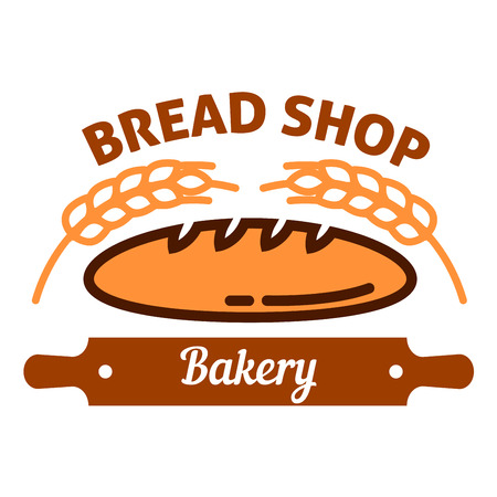 Natural organic long loaf bread icon encircled by ripe wheat ears and brown silhouette of rolling pin with caption Bakery. Bread house badge design template for signboard or interior accessories