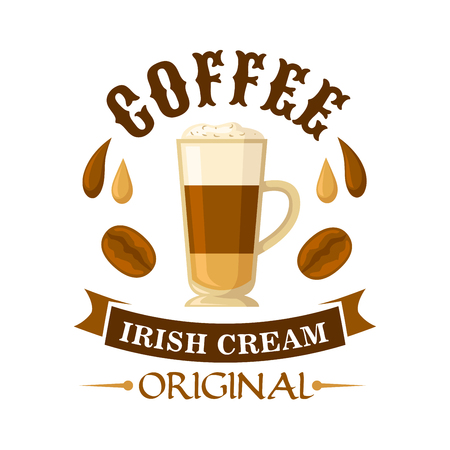Delicious irish cream coffee cocktail symbol served in glass cup topped with whipped cream, decorated by drops of coffee and irish cream liqueur, coffee beans and curved ribbon. Use as cocktail menu or cafe interior design