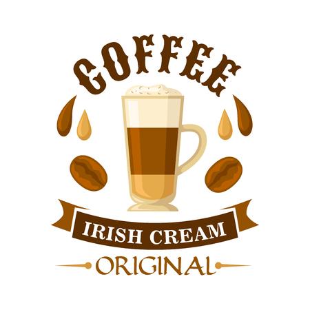Heerlijke Ierse crème koffie cocktail symbool geserveerd in glazen beker gegarneerd met slagroom, versierd met druppels koffie en Ierse roomlikeur, koffiebonen en gebogen lint. Gebruik als cocktailmenu of café-interieur Stockfoto - 106199162