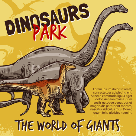Dinosaurs Jurassic park poster of T-rex, brnotosaurus and stegosaurus giants. Vector sketch design of triceratops pteranodon or ceratosaurus and parasaurolophus in for museum exhibition
