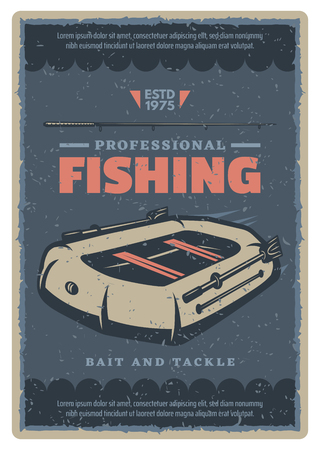 Fishing poster for professional fisherman of inflatable boat with paddles and fish rod. Vector retro vintage design for tackles and baits store or fishery industry