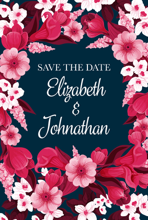 Save the Date design for engagement party invitation card for wedding design. Vector wedding flowers frame of crocuses and blooming lily blossoms with bride or bridegroom names