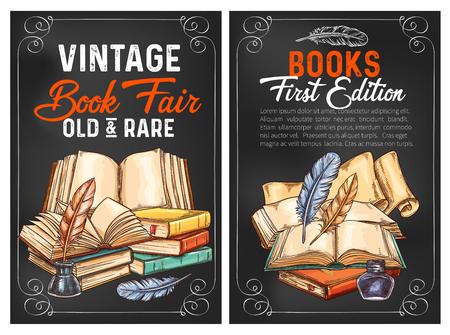 Manifesti di schizzo di fiere di libri rari e vintage per edizione letteraria o pubblicità Disegno vettoriale di vecchi libri rari e inchiostro scrittore con penne d'oca per libreria o libreria di rarità