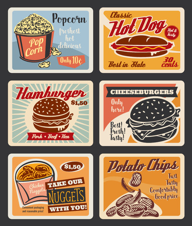 Fast food retro posters for cinema bistro bar or fastfood restaurant snacks menu. Vector vintage set of popcorn, hot dog sandwich or hamburger and cheeseburger, with chicken nuggets and potato chips