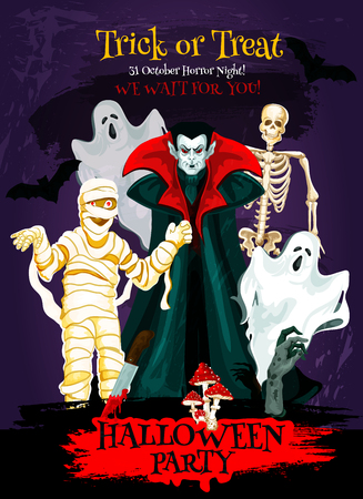 Halloween trick or treat poster of october horror holiday celebration. Dracula vampire with ghost, skeleton and zombie, mummy and bat for Halloween horror night party invitation flyer design Illustration