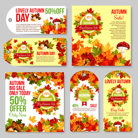Autumn sale tag and promotion banner set. Fall season leaf, yellow and orange foliage of maple, chanterelle mushroom, cep and amanita, acorn and rowan berry for discount price offer poster design
