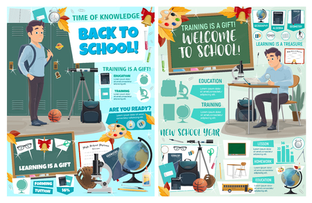 Back to school posters with student at desk or near locker, stationery for education. Geometry and geography classes, biology and physical activity, globe and telescope, diagrams with charts vector Stock Illustratie